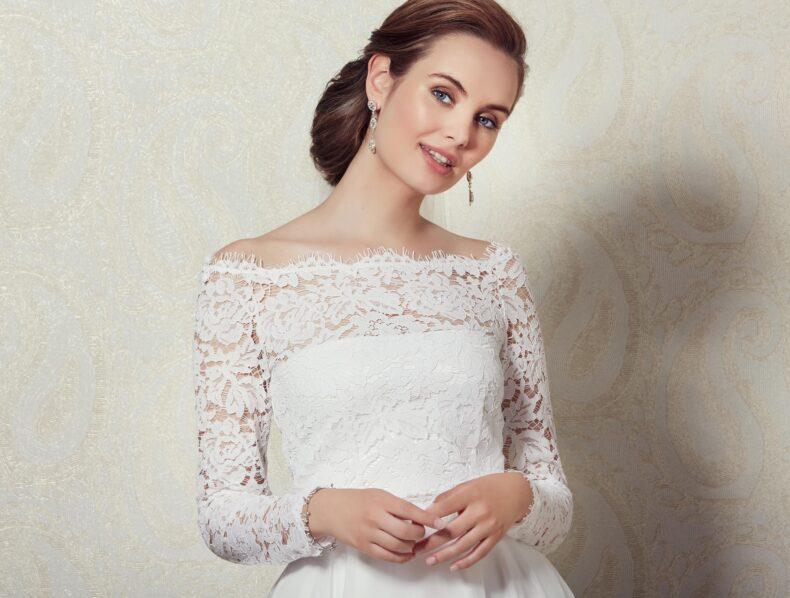 Braut TOP aus Spitze mit Ärmeln