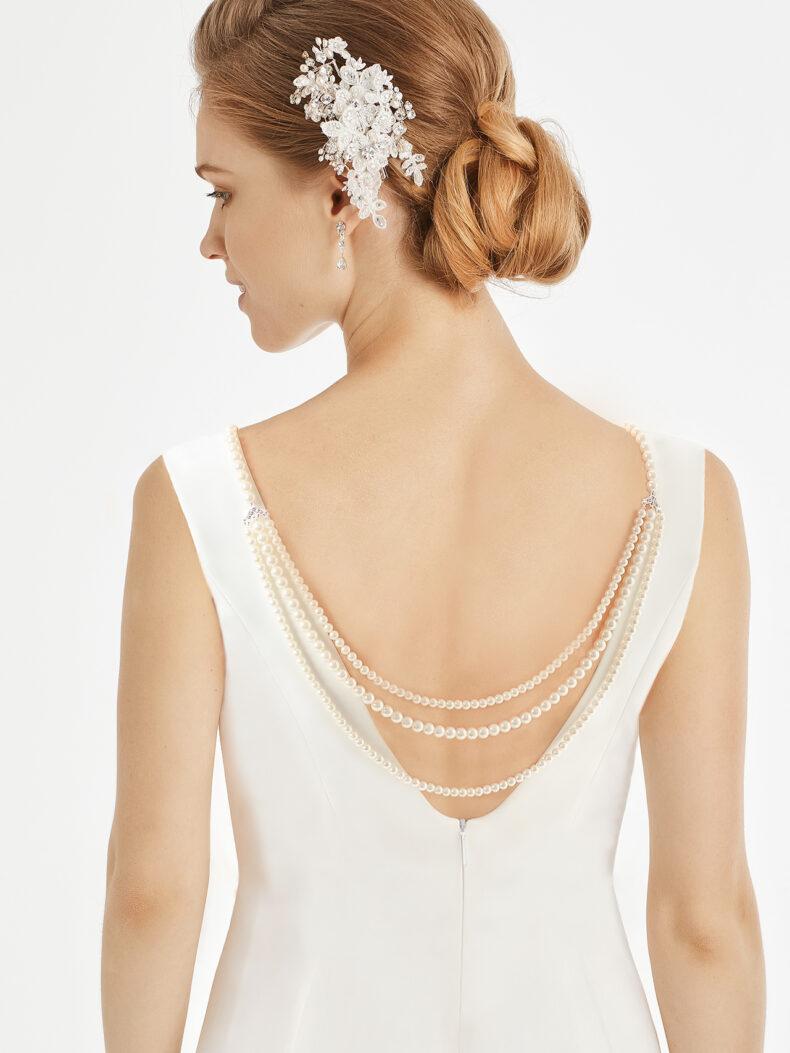 Rückenkette aus Perlen und Strass Schmuck mit Karabiner Verschluss