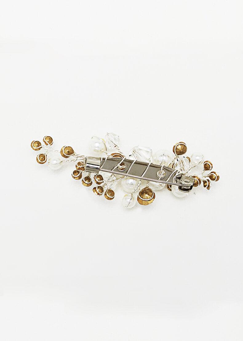 Schleppennadel mit perlmutfarbenen Perlen und Strassstein